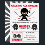 """Cute Ninja Warrior Kids Birthday Party Invitation<br><div class=""""desc"""">Amaze your guests with this modern ninja birthday party invitation featuring cute little ninjas with eye-catching typography against a white background. Simply add your event details on this easy-to-use template to make it a one-of-a-kind invitation. Flip the card over to reveal an elegant black and white starburst pattern on the...</div>"""