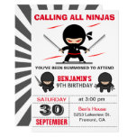 Cute Ninja Warrior Kids Birthday Party Invitation<br><div class='desc'>Amaze your guests with this modern ninja birthday party invitation featuring cute little ninjas with eye-catching typography against a white background. Simply add your event details on this easy-to-use template to make it a one-of-a-kind invitation. Flip the card over to reveal an elegant black and white starburst pattern on the...</div>
