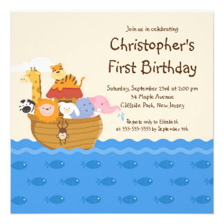 Cute Noah s Ark Baby Animals Birthday Party Personalized Invitation