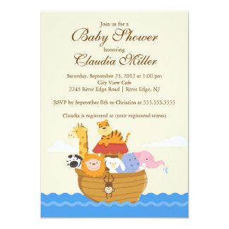 "Cute Noah""s Ark Baby Girl or Baby Boy Shower 5x7 Paper Invitation Card"