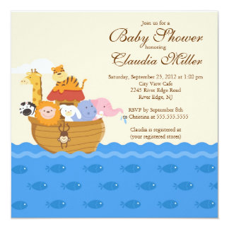 """Cute Noah""""s Ark Baby Girl or Baby Boy Shower 5.25"""" Square Invitation Card"""