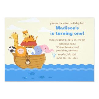 Cute Noah's Ark 1st Birthday 5x7 Paper Invitation Card