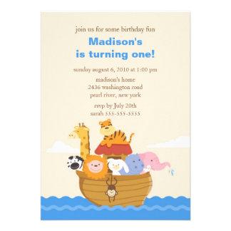 Cute Noah's Ark 1st Birthday Custom Announcements
