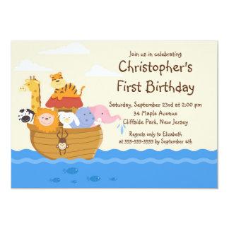 Cute Noah's Ark Baby Animals Birthday Party Card