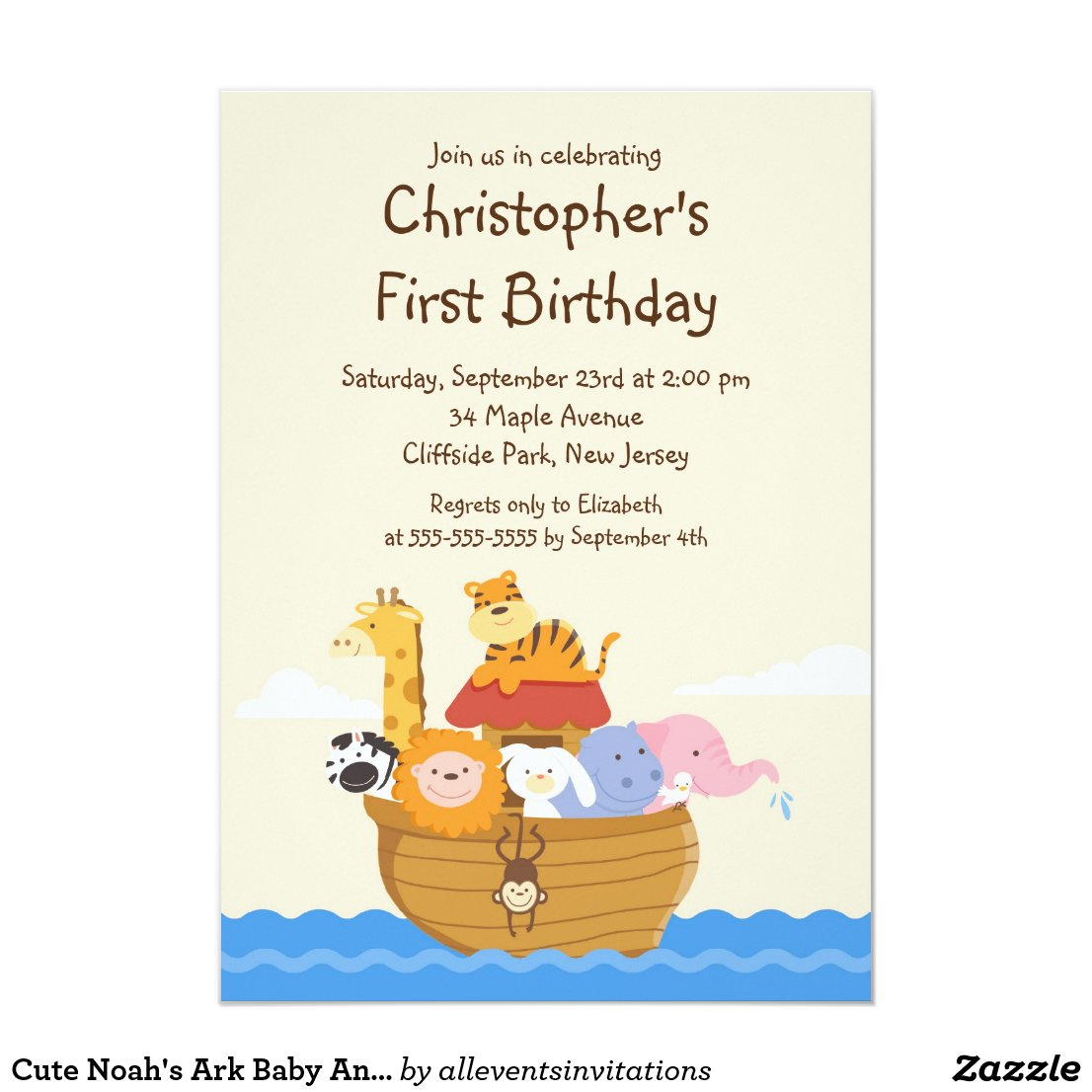 Cute Noah's Ark Baby Animals Birthday Party Card