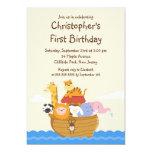 Cute Noah's Ark Baby Animals Birthday Party 5x7 Paper Invitation Card