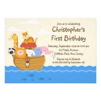 Cute Noah's Ark Baby Animals Birthday Party Personalized Invitation