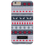 Cute Nordic Folk Holidays Navy Red Pattern Custom Barely There iPhone 6 Plus Case