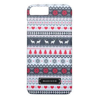 Cute Nordic Folk Holidays Navy Red Pattern Custom iPhone 7 Plus Case