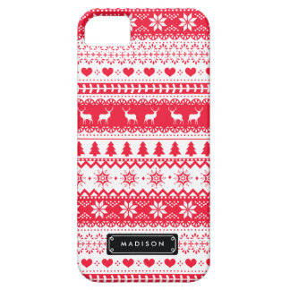 Cute Nordic Folk Holidays Red Pattern Custom iPhone SE/5/5s Case