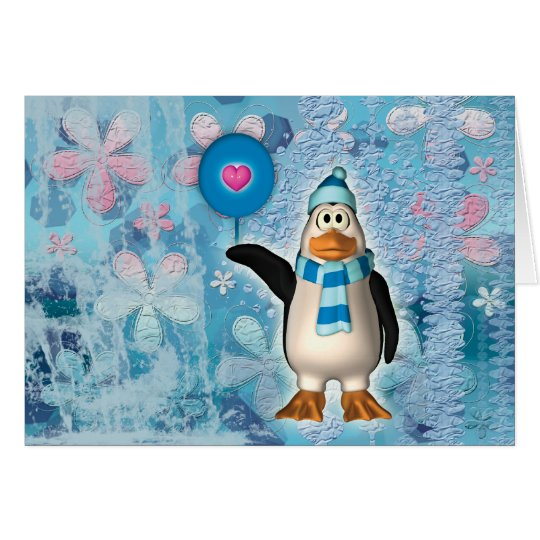 Cute north pole penguin with heart card