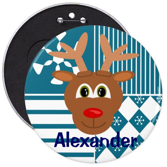 Cute Nose Reindeer Personalized Stocking Tag Pinback Button