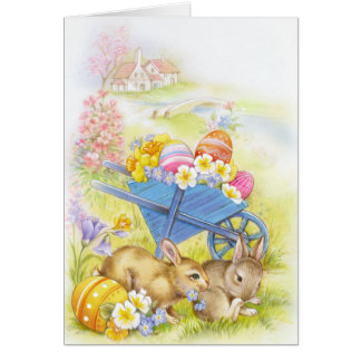 Cute nostalgic vintage easter bunnies card