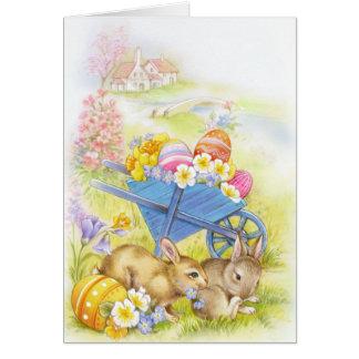 Cute nostalgic vintage easter bunnies card