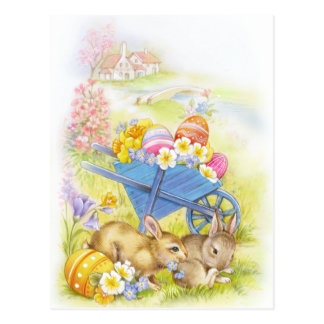 Cute nostalgic vintage easter bunnies postcard