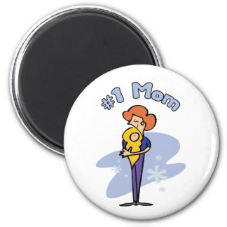 """Cute """"Number 1"""" Mom design 2 Inch Round Magnet"""