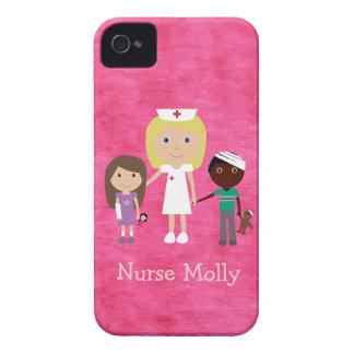 Cute Nurse and Children Pink Case-Mate iPhone 4 Case