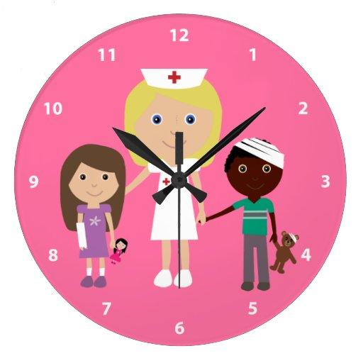 Cute Nurse & Children Pink Clock