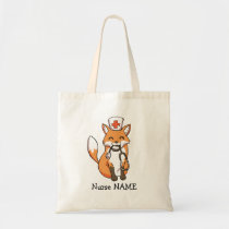 Cute Nurse Fox Drawing Personalised Tote Bag