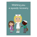 Cute Nurse & kids Get well soon card