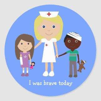 Cute nurse kids I was brave today stickers