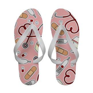 Cute Nurse Love Print Pink Background Flip-Flops