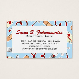 Cute Nurse or Caregiver Blue Business Card