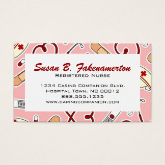 Cute Nurse or Caregiver Pink Business Card