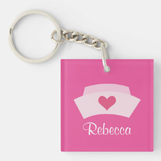 Cute Nurse Personalized Stocking Stuffer Grad Gift Single-Sided Square Acrylic Keychain