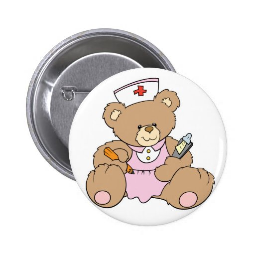 Cute Nurse RN Bear Button