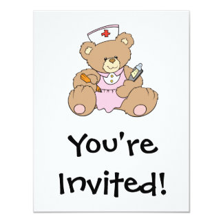 "Cute Nurse RN Bear 4.25"" X 5.5"" Invitation Card"