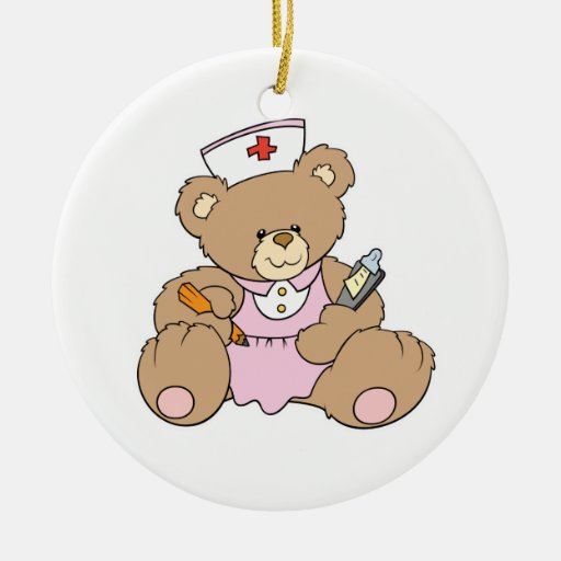 Cute Nurse RN Bear Double-Sided Ceramic Round Christmas Ornament