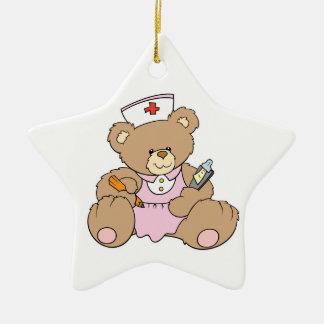 Cute Nurse RN Bear Double-Sided Star Ceramic Christmas Ornament