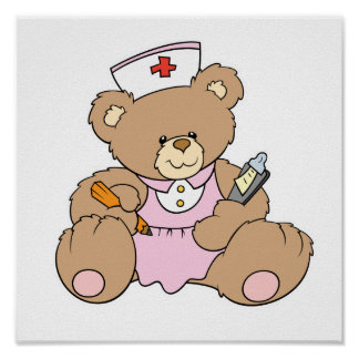 Cute Nurse RN Bear Posters