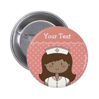Cute nurse with dark hair pinback button