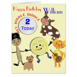 Cute Nursery Rhyme Kids Age and Name Birthday Card