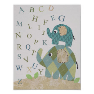 Cute Nursery wall art elephant alphabets