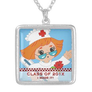 Cute Nursing School Graduation LPN RN Profession Silver Plated Necklace