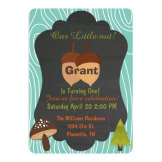 Cute Nut Woodland birthday party invitation 4