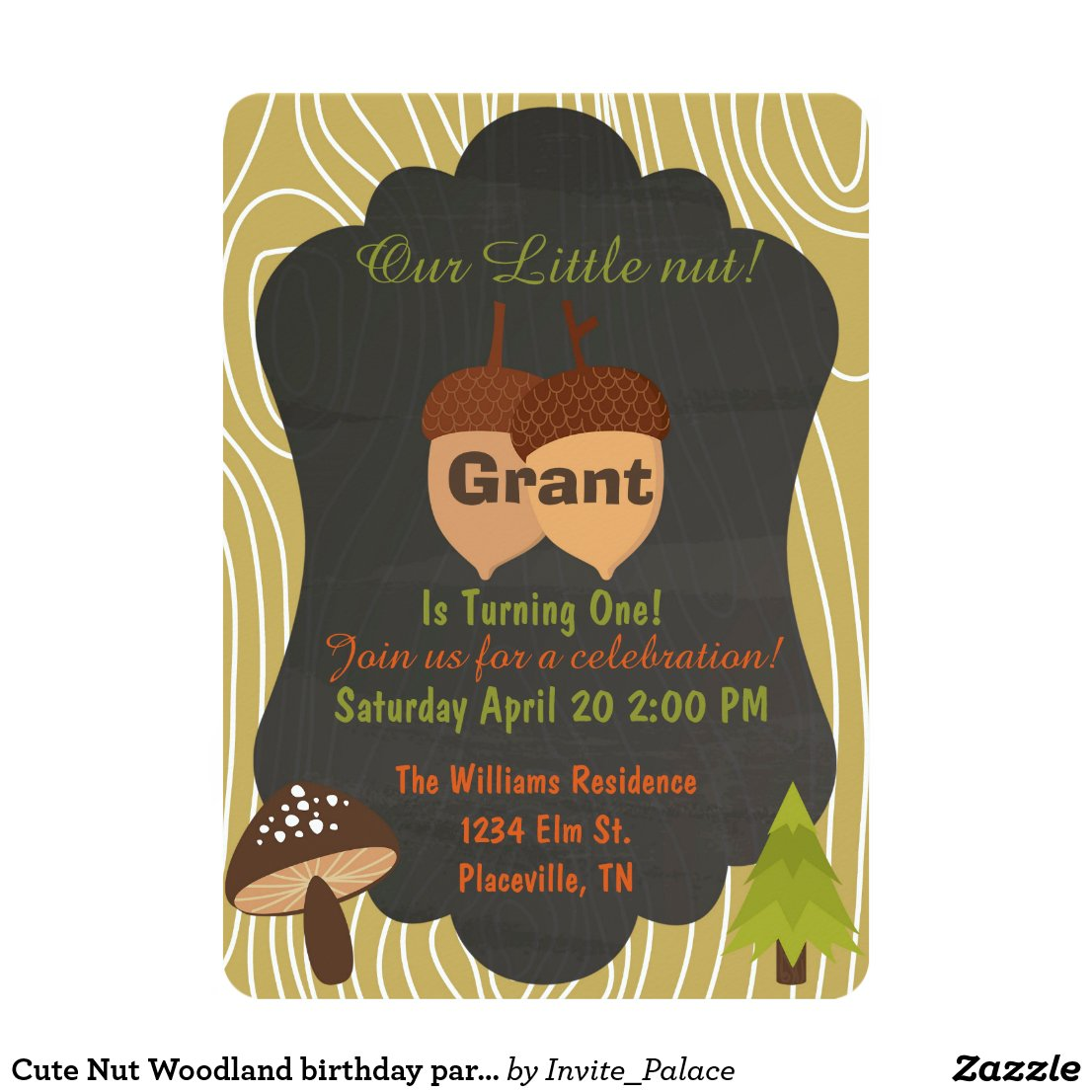 Cute Nut Woodland birthday party invitation 5