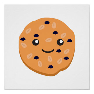 Cute Oatmeal Raisin Cookie Perfect Poster
