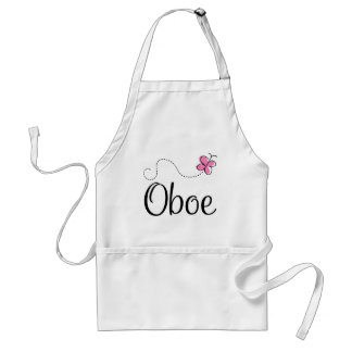 Cute Oboe Pink Butterfly Adult Apron