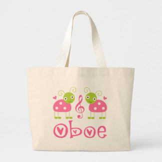 Cute Oboe Pink Ladybugs Tote Bags