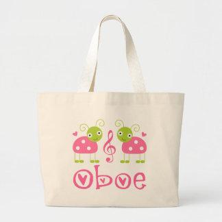 Cute Oboe Pink Ladybugs Jumbo Tote Bag