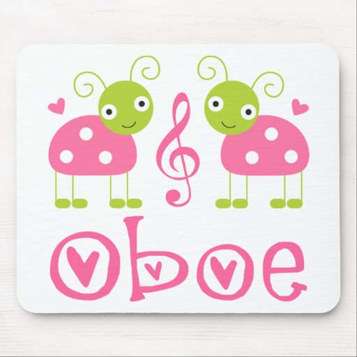 Cute Oboe Pink Ladybugs Mousepads