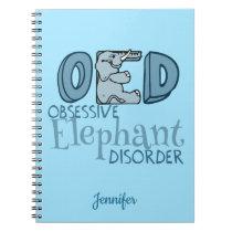 Cute Obsessive Elephant Disorder Custom Notebook