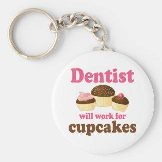 Cute Occupation Chocolate Cupcakes Dentist Basic Round Button Keychain