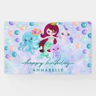 Cute Ocean Animals Mermaid Theme Happy Birthday Banner