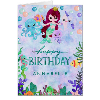 Cute Ocean Animals Mermaid Theme Happy Birthday Card
