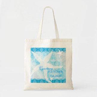 Cute Ocean Blue Starfish Summer Bridesmaids Gift Tote Bag